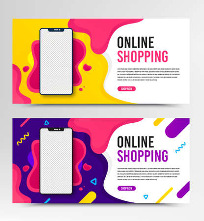 Web banner vector template. Flyer design for online shopping, digital marketing. Concept for website, banner and brochure. Modern vector template. Web page flyer banner background. Phone layout.