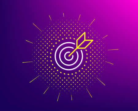 Target purpose line icon. Halftone pattern. Stratery goal sign. Core value symbol. Gradient background. Target purpose line icon. Yellow halftone pattern. Vector Illustration