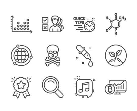 Set of Education icons, such as Bitcoin chart, Chemistry pipette, Quick tips, Chemical formula, Dot plot, Opinion, Ranking star, Startup, Musical note, Chemical hazard, Globe, Search. Vector Ilustracja
