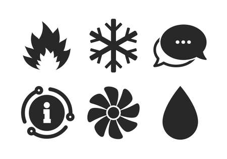 Heating, ventilating and air conditioning symbols. Chat, info sign. HVAC icons. Water supply. Climate control technology signs. Classic style speech bubble icon. Vector