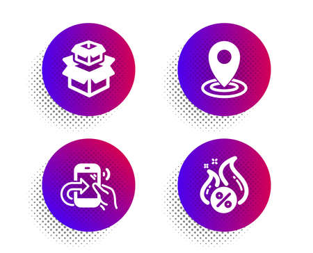 Packing boxes, Location and Share call icons simple set. Halftone dots button. Hot loan sign. Delivery box, Map pointer, Phone support. Discount offer. Technology set. Vector