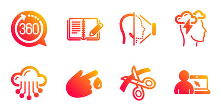 Cloud storage, Blood donation and Face id line icons set. Scissors, Mindfulness stress and 360 degrees signs. Feedback, Online education symbols. Data service, Injury. Science set. Vector