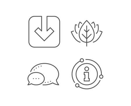 Load document line icon. Chat bubble, info sign elements. Download arrowhead symbol. Direction or pointer sign. Linear load document outline icon. Information bubble. Vector  イラスト・ベクター素材