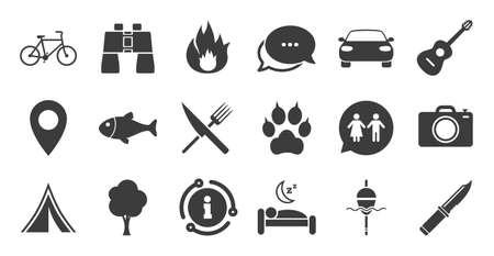 Set of Travel, Hiking and Camping icons. Information, chat bubble icon. Fishing, Biking and WC toilet signs. Tourist tent, Food and Bed symbols. Photo and Rent a car. Quality set. Vector Ilustracja