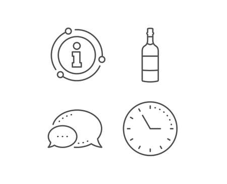 Brandy bottle line icon. Chat bubble, info sign elements. Whiskey or Scotch alcohol sign. Linear brandy bottle outline icon. Information bubble. Vector