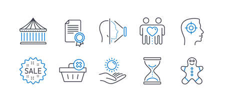 Set of Business icons, such as Sun protection, Time hourglass, Face id, Friends couple, Certificate, Recruitment, Sale, Delete order, Carousels, Gingerbread man line icons. Vector Illustration