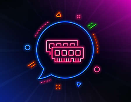 Ram line icon. Neon laser lights. Computer random-access memory component sign. Glow laser speech bubble. Neon lights chat bubble. Banner badge with ram icon. Vector