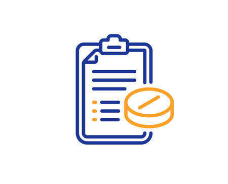Medicine pills sign. Medical prescription line icon. Pharmacy medication symbol. Colorful outline concept. Blue and orange thin line medical prescription icon. Vector 矢量图像