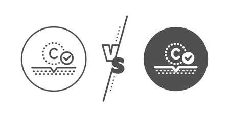 Cream care sign. Versus concept. Collagen skin line icon. Cosmetic lotion symbol. Line vs classic collagen skin icon. Vector