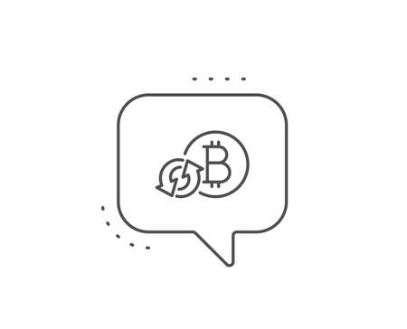 Bitcoin line icon. Chat bubble design. Refresh cryptocurrency coin sign. Crypto money symbol. Outline concept. Thin line refresh bitcoin icon. Vector