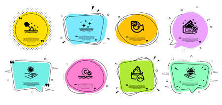 Skin care, Skin moisture and 24 hours line icons set. Chat bubbles with quotes. Uv protection, Sun protection and Cream signs. Hand cream, Repeat. Beauty set. Banner badges vector shapes. Vector
