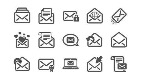 Iconos de mensajes de correo. Newsletter, E-mail, Correspondencia. Conjunto de iconos clásicos de comunicación. Conjunto de calidad. Vector