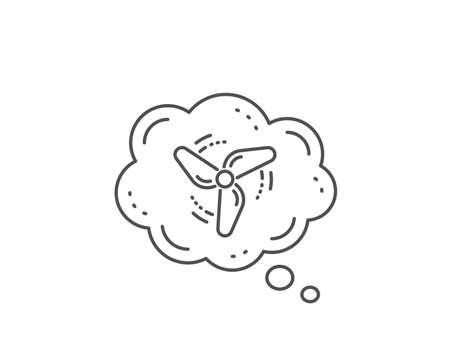 Wind energy line icon. Chat bubble design. Fan engine, jet turbine sign. Ventilator symbol. Outline concept. Thin line wind energy icon. Vector