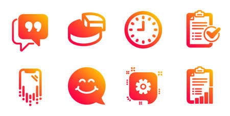 Smile face, Quote bubble and Cogwheel line icons set. Survey checklist, Clock and Smartphone recovery signs. Pie chart, Checklist symbols. Chat, Chat comment. Technology set. Vector