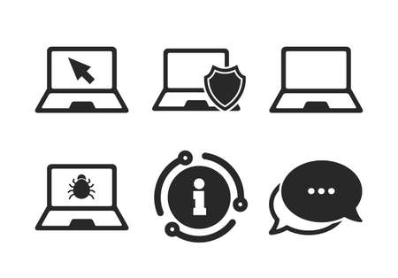 Virus or software bug signs. Chat, info sign. Notebook laptop pc icons. Shield protection symbol. Mouse cursor pointer. Classic style speech bubble icon. Vector Illustration