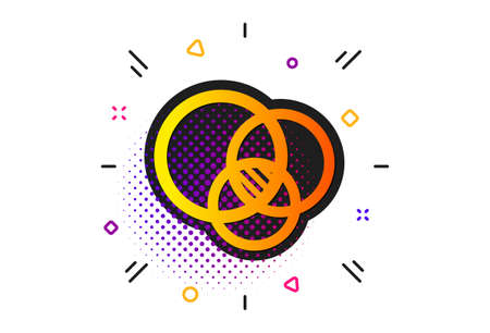 Eulerian circles sign. Halftone circles pattern. Euler diagram icon. Relationships chart symbol. Classic flat euler diagram icon. Vector 向量圖像