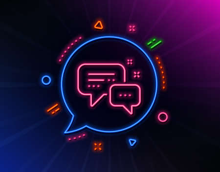 Employees messenger line icon. Neon laser lights. Speech bubble sign. Chat message symbol. Glow laser speech bubble. Neon lights chat bubble. Banner badge with employees messenger icon. Vector