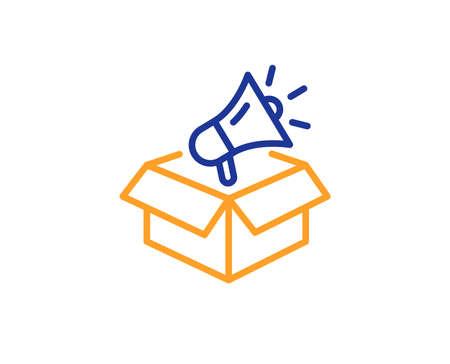 Advertisement device symbol. Megaphone box line icon. Brand ambassador sign. Colorful outline concept. Blue and orange thin line megaphone box icon. Vector Illustration