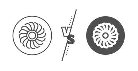 Jet turbine sign. Versus concept. Fan engine line icon. Ventilator symbol. Line vs classic fan engine icon. Vector
