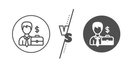 Diplomat with Dollar sign. Versus concept. Businessman with Case line icon. Line vs classic businessman case icon. Vector Иллюстрация