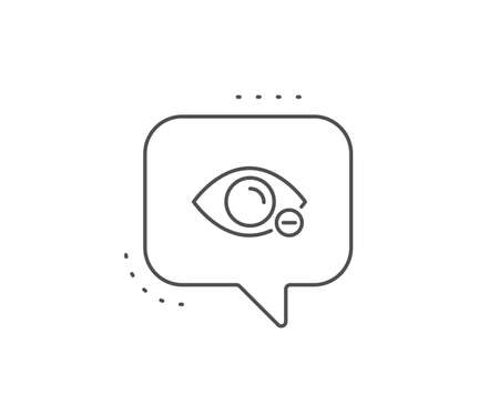 Myopia line icon. Chat bubble design. Eye diopter sign. Optometry vision symbol. Outline concept. Thin line myopia icon. Vector
