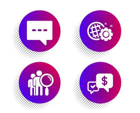 Blog, Search people and Seo gear icons simple set. Halftone dots button. Payment received sign. Chat message, Find employee, Web settings. Money. Technology set. Classic flat blog icon. Vector Standard-Bild - 130388662