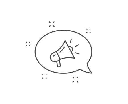 Megaphone line icon. Chat bubble design. Advertisement device symbol. Brand ambassador sign. Outline concept. Thin line megaphone icon. Vector