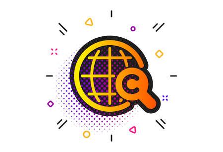 Copywriting sign. Halftone circles pattern. International Сopyright icon. World symbol. Classic flat international Сopyright icon. Vector