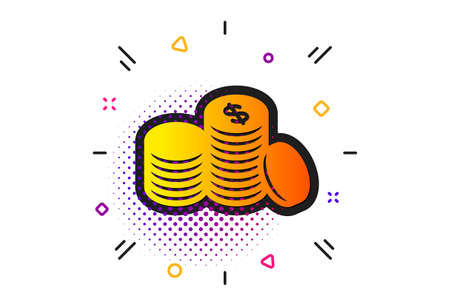 Banking currency sign. Halftone circles pattern. Coins money icon. Cash symbol. Classic flat banking money icon. Vector