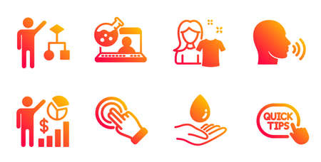 Touchscreen gesture, Human sing and Online chemistry line icons set. Clean shirt, Water care and Algorithm signs. Seo statistics, Quick tips symbols. Click hand, Talk. People set. Vector Stock Illustratie