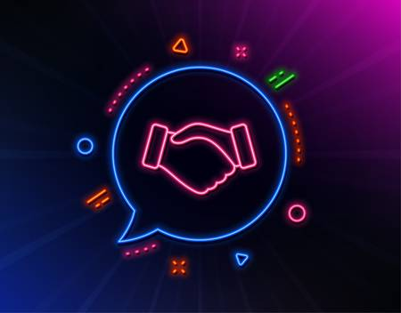 Handshake line icon. Neon laser lights. Hand gesture sign. Business deal palm symbol. Glow laser speech bubble. Neon lights chat bubble. Banner badge with handshake icon. Vector