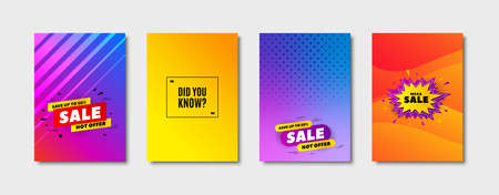Did you know. Cover design, banner badge. Special offer question sign. Interesting facts symbol. Poster template. Sale, hot offer discount. Flyer or cover background. Coupon, banner design. Vector