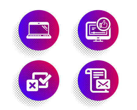 Laptop, Checkbox and Like video icons simple set. Halftone dots button. Mail letter sign. Computer, Survey choice, Thumbs up. Read e-mail. Technology set. Classic flat laptop icon. Vector Ilustração