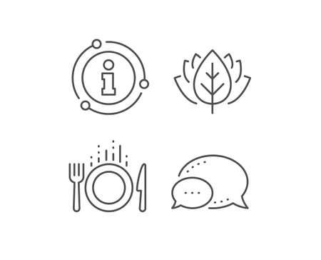 Icono de línea de alimentos. Burbuja de chat, elementos de señal de información. Signo de cubiertos. Tenedor, símbolo de cuchillo. Icono de contorno de comida lineal. Burbuja de información. Vector