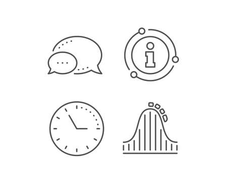 Roller coaster line icon. Chat bubble, info sign elements. Amusement park sign. Carousels symbol. Linear roller coaster outline icon. Information bubble. Vector