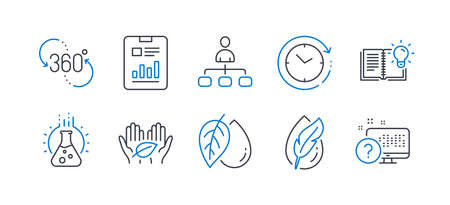 Set of Science icons, such as Mineral oil, 360 degree, Product knowledge, Hypoallergenic tested, Management, Chemistry lab, Report document, Time change, Fair trade, Online quiz. Vector Illustration