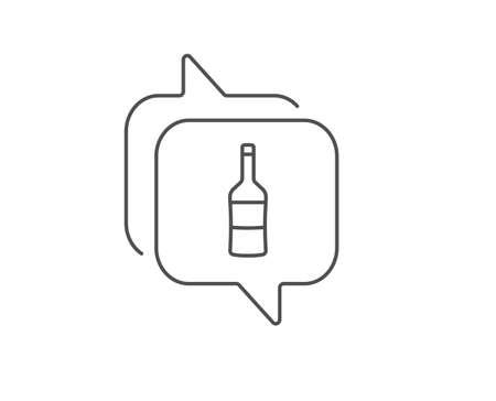 Wine bottle line icon. Chat bubble design. Merlot or Cabernet Sauvignon sign. Outline concept. Thin line wine icon. Vector Illustration