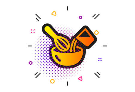Cutlery sign. Halftone circles pattern. Cooking whisk icon. Food mix symbol. Classic flat cooking whisk icon. Vector
