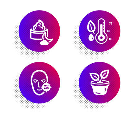 Night cream, Problem skin and Thermometer icons simple set. Halftone dots button. Leaves sign. Face lotion, Facial care, Grow plant. Healthcare set. Classic flat night cream icon. Vector Illustration