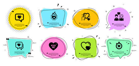 Kiss me, Love message and Heart flame line icons set. Chat bubbles with quotes. Hold heart, Couple love and Heartbeat timer signs. Hearts symbol. Dating service, Romantic relationships. Vector