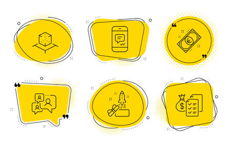 Message, Innovation and Accounting wealth signs. Chat bubbles. Augmented reality, Support chat and Euro money line icons set. Virtual reality, Comment bubble, Cash. Phone messenger. Vector Illustration