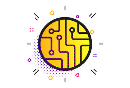 Circuit board sign icon. Halftone dots pattern. Technology scheme circle symbol. Classic flat circuit board icon. Vector 스톡 콘텐츠 - 130388774