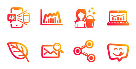 Web analytics, Cleaning and Augmented reality line icons set. Share, Infographic graph and Leaf signs. Search mail, Yummy smile symbols. Statistics, Maid service. Business set. Vector