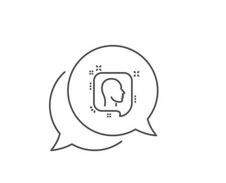 Head line icon. Chat bubble design. Human profile speech bubble sign. Facial identification symbol. Outline concept. Thin line head icon. Vector