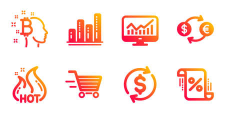 Delivery shopping, Currency exchange and Bitcoin think line icons set. Statistics, Graph chart and Usd exchange signs. Hot sale, Loan percent symbols. Online buying, Banking finance. Vector 向量圖像