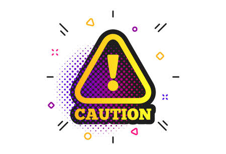 Attention caution sign icon. Halftone dots pattern. Exclamation mark. Hazard warning symbol. Classic flat caution icon. Vector Foto de archivo - 130388915