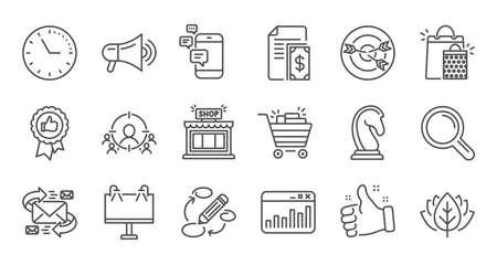 Marketing, iconos de línea de investigación. Agencia de Estrategia, Feedback y Publicidad. Conjunto de iconos lineal de estrategia empresarial. Conjunto de líneas de calidad. Vector Ilustración de vector