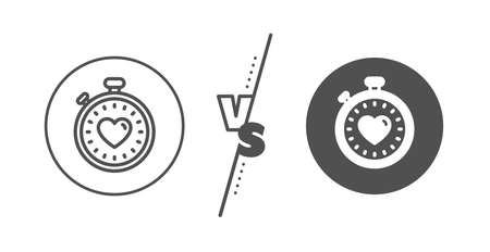 Love symbol. Versus concept. Heart in Timer line icon. Valentines day stopwatch sign. Line vs classic heartbeat timer icon. Vector Illustration