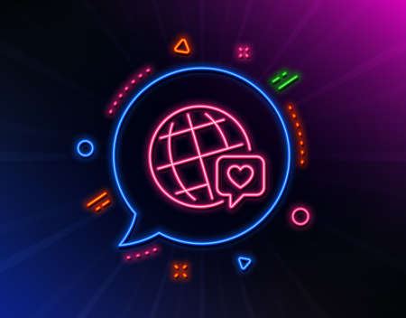 Friends world line icon. Neon laser lights. Friendship love sign. World brand ambassador symbol. Glow laser speech bubble. Neon lights chat bubble. Banner badge with world brand icon. Vector