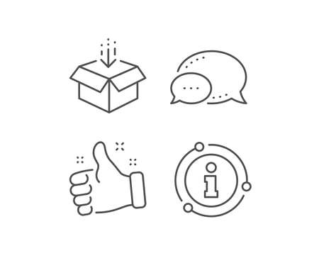 Get box line icon. Chat bubble, info sign elements. Open delivery parcel sign. Cargo package symbol. Linear get box outline icon. Information bubble. Vector 일러스트